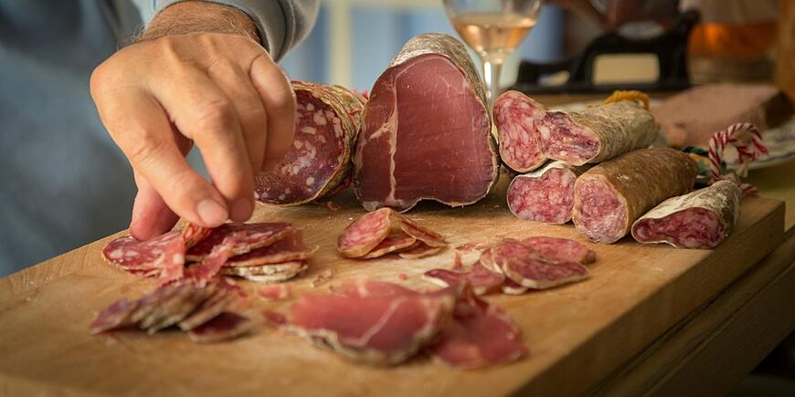 salami being sliced