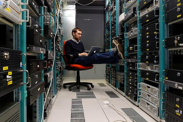 A server room in action