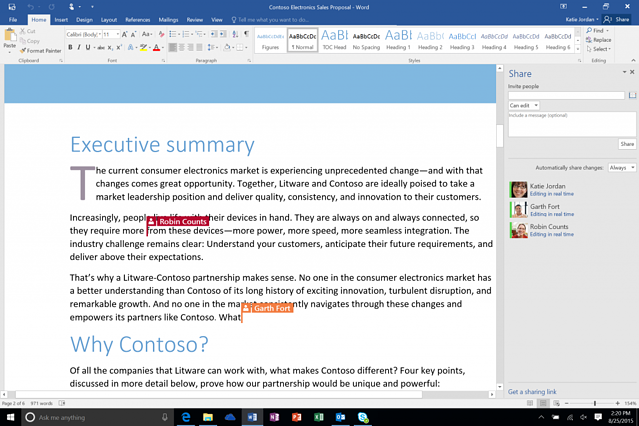 Word Office 365 co-authoring