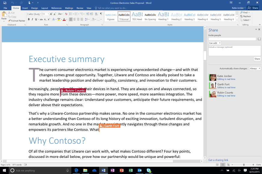 Office 365 Microsoft Word Co-authoring